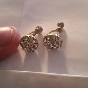 Jewelry - Vintage Diamond and Gold Screw On Costume Earrings